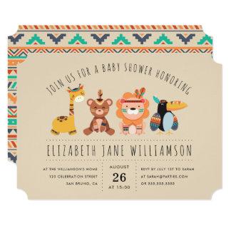 Tribal Safari Animals   Boy Baby Shower Party Card