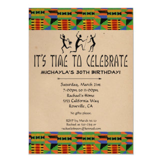 Tribal Safari Party Invite- Kente Cloth CUSTOM Card