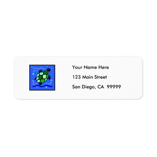 Tribal Sea Turtle Return Address Label