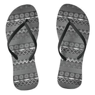 Tribal silver grey pattern thongs