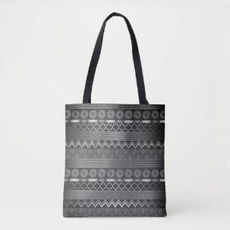 Tribal silver grey pattern tote bag
