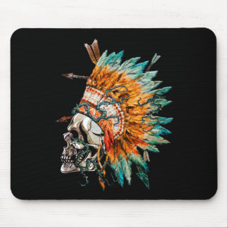 Tribal Skull Chief Skeleton Mouse Pad