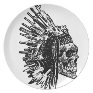 Tribal Skull, Guns and Knives Plate