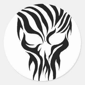 Tribal Skull Round Sticker