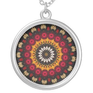 Tribal Southwest Vibrant Colored Pattern Round Pendant Necklace