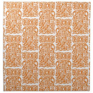 Tribal Speak Art, White on Orange, Custom Color Napkin