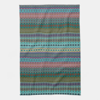 Tribal striped abstract pattern design tea towel