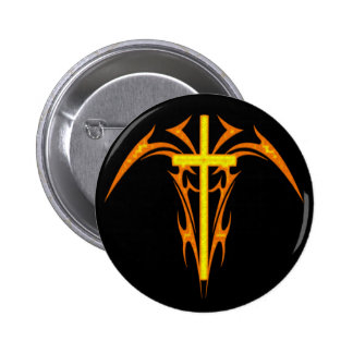 TRIBAL STYLE CROSS AND ANGEL PINBACK BUTTONS