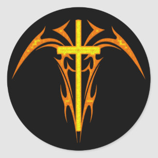 TRIBAL STYLE CROSS AND ANGEL CLASSIC ROUND STICKER