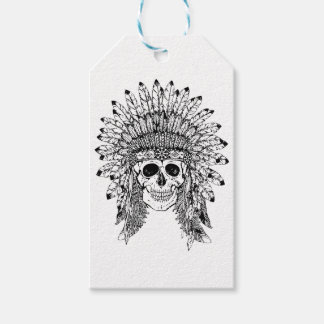 Tribal style gothic skull with feather crown Graph