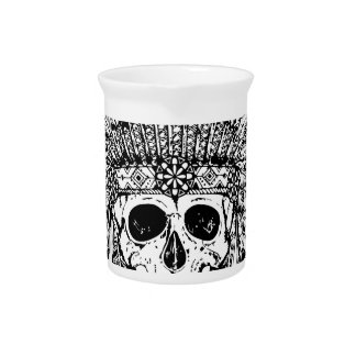 Tribal style gothic skull with feather crown Graph Pitcher