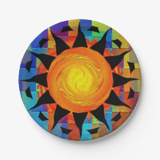 Tribal Sun and Rainbows 7 Inch Paper Plate