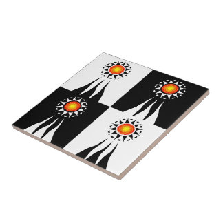 Tribal Sun and Rays Checkerboard Ceramic Tile