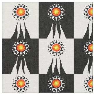 Tribal Sun and Rays Checkerboard Fabric