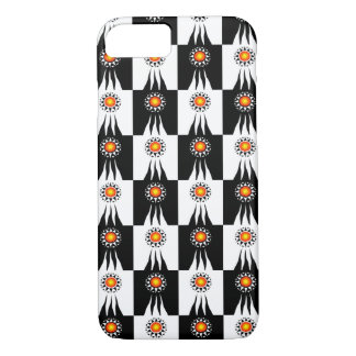 Tribal Sun and Rays Checkerboard iPhone 7 Case