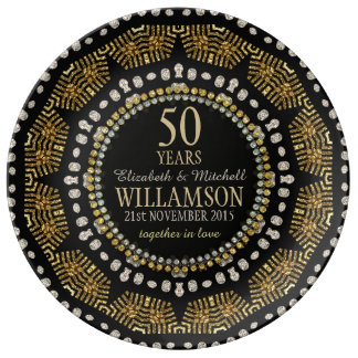 Tribal Sun Black Gold Anniversary Gift Plate