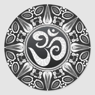 Tribal Sun Black+White Om Goa NewAge Sticker