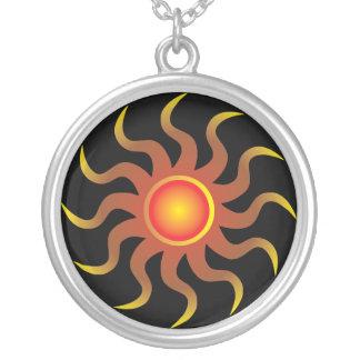 Tribal Sun Round Pendant Necklace