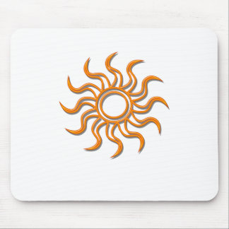 Tribal Sun Oulined in Orange Mouse Mat