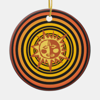 Tribal Sun Primitive Caveman Drawing Pattern Round Ceramic Decoration