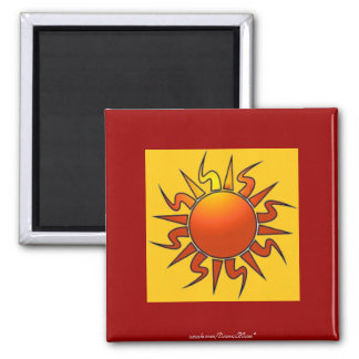 Tribal Sun Square Magnet
