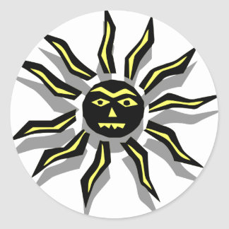 Tribal Sun Tattoo Round Sticker
