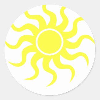 Tribal Sun Yellow Round Stickers