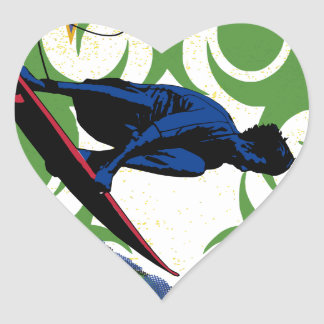 Tribal surfing heart sticker