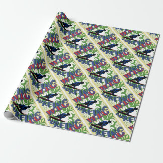 Tribal surfing wrapping paper
