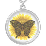 Tribal Tattoo Butterfly Sunflower Necklace