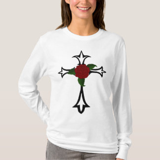 Tribal Tattoo Cross With A Red Rose Hoody