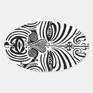 Tribal Tattoo Design - New Zealand Maori Oval Sticker