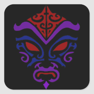 Tribal Tattoo Style Goth Dark Kabuki Mask Square Sticker