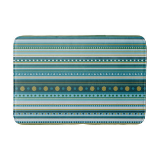 Tribal Teal Blue Green Stripes Pattern Bath Mat