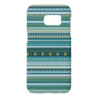 Tribal Teal Blue Stripes Pattern Galaxy S7 Case