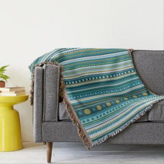 Tribal Teal Blue Stripes Pattern Throw Blanket