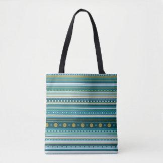 Tribal Teal Blue Stripes Pattern Tote Bag
