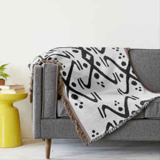 Tribal Throw in Black and White