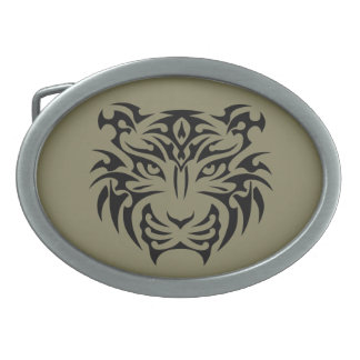 Tribal Tiger Oval Belt Buckle