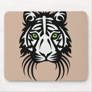 Tribal Tiger Tattoo Black White Mouse Pad