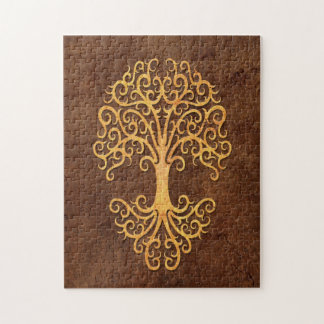 Tribal Tree of Life with Brown Stone Effect Jigsaw Puzzle