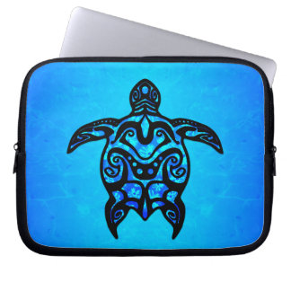 Tribal Turtle Hibiscus Laptop Sleeve