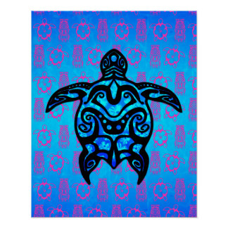 Tribal Turtle Hibiscus Poster