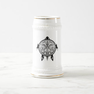 Tribal Turtle Shield Tattoo Beer Stein