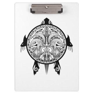 Tribal Turtle Shield Tattoo Clipboard