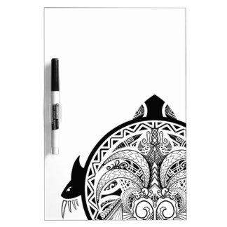 Tribal Turtle Shield Tattoo Dry Erase Board