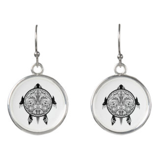 Tribal Turtle Shield Tattoo Earrings