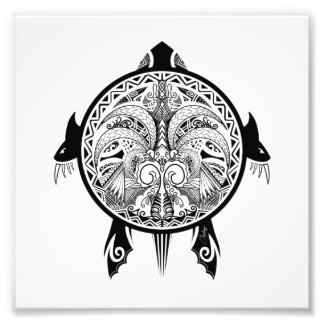 Tribal Turtle Shield Tattoo Photo Print