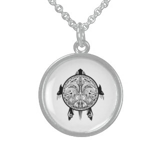Tribal Turtle Shield Tattoo Sterling Silver Necklace