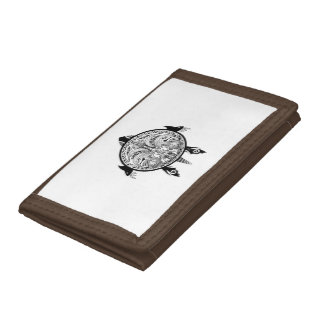 Tribal Turtle Shield Tattoo Trifold Wallet